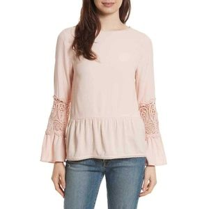Joie Top Nude Embroidered Sleeve Tunic Blouse Sz L